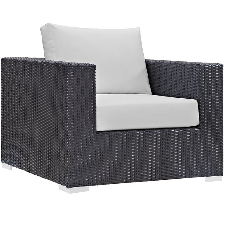Rattan Armchair with White Cushions