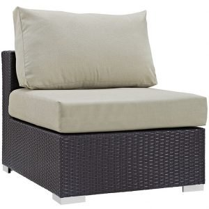 Outdoor patio armless rattan chair in espresso beige