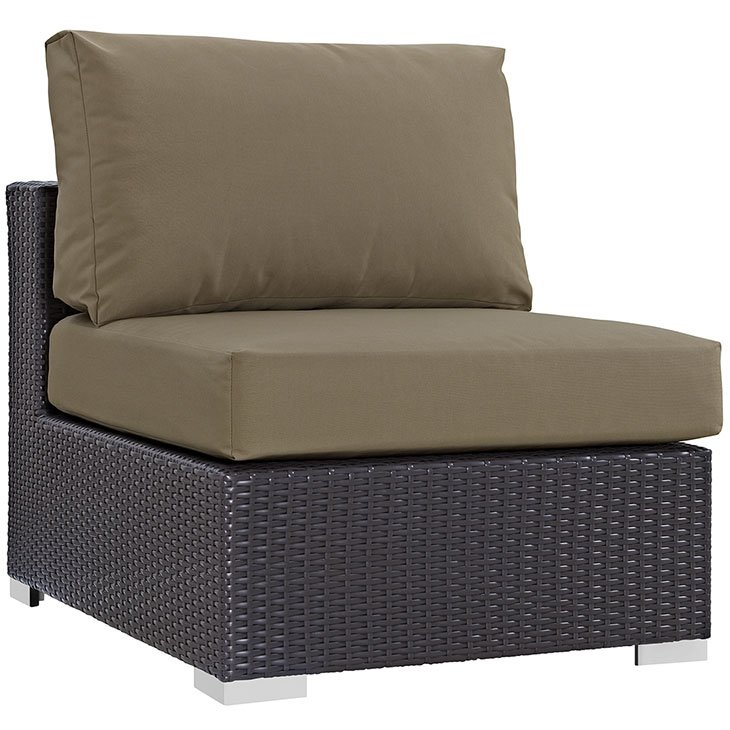 Outdoor patio armless chair in espresso mocha