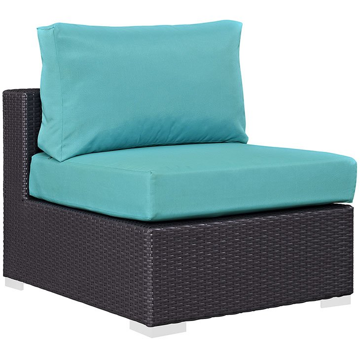 Outdoor patio armless in espresso turquoise