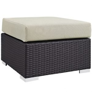 Rattan Ottoman with Beige Cushion