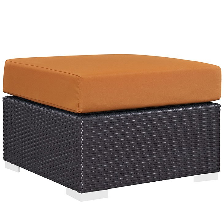 Rattan Ottoman with orange Cushion