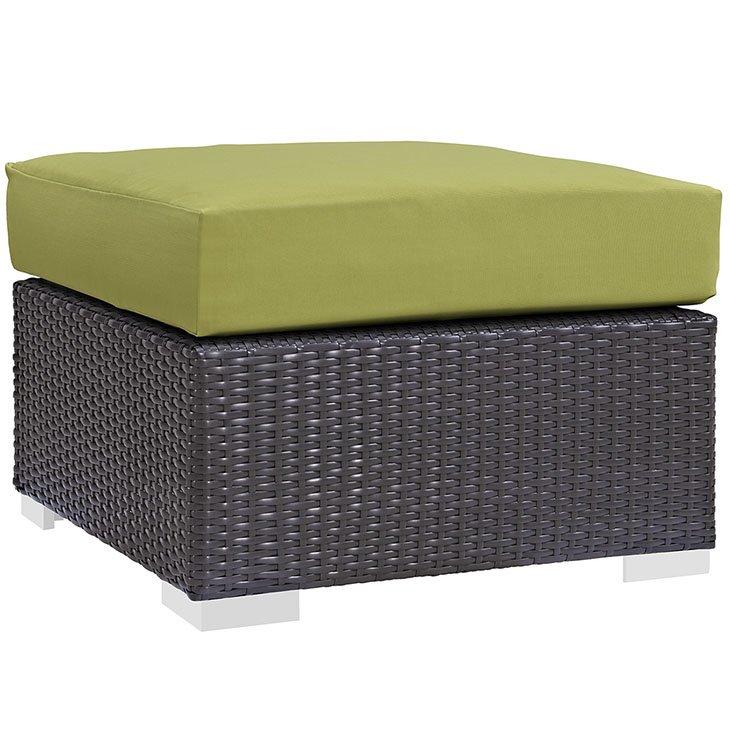 Rattan Ottoman with Green Cushion