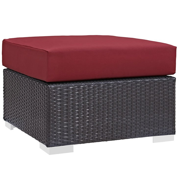 Rattan Ottoman with Red Cushion