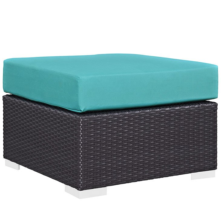 Rattan Ottoman with Turquoise Cushion