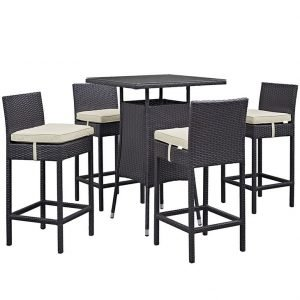 5 piece rattan bar set with beige cushions Product EEI-1963