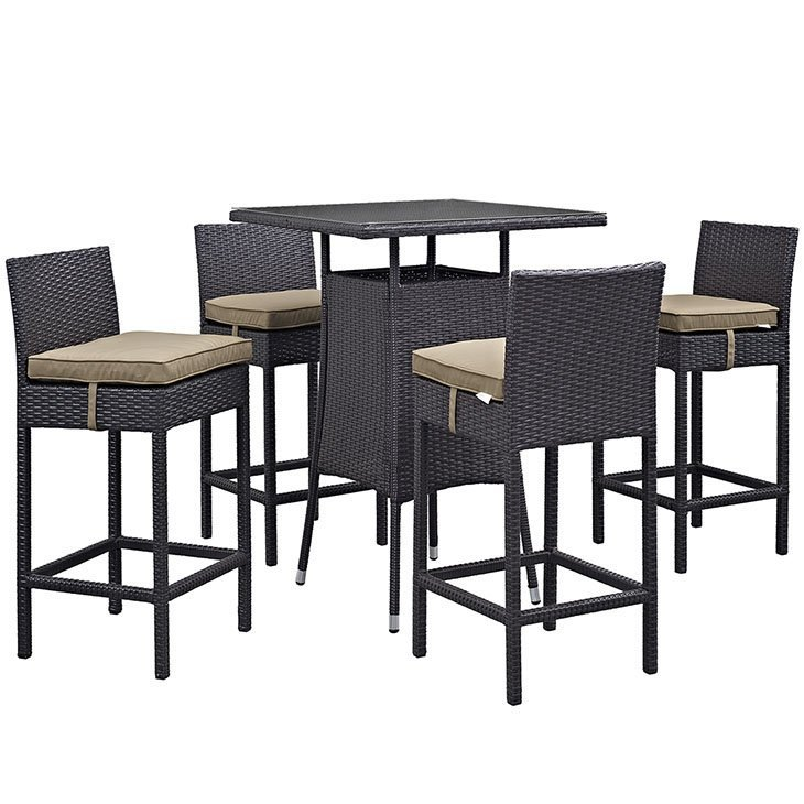 5 Piece Rattan Bar Set with Mocha Cushions