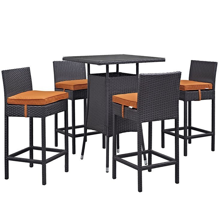 5 piece bar dining set in Tuscany orange