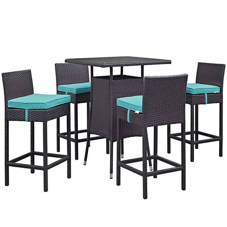 5 piece bar set in turquoise