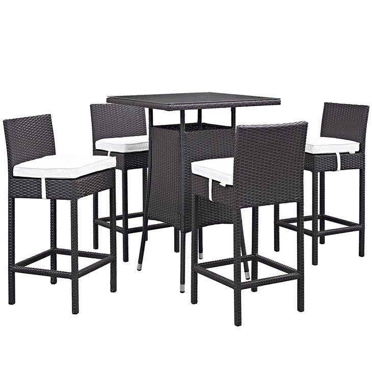 5 Piece Outdoor Patio Pub Set in Espresso White EEI-1963