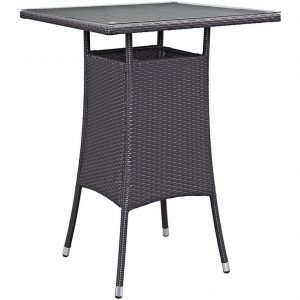 Rattan Pub Table with Glass Top