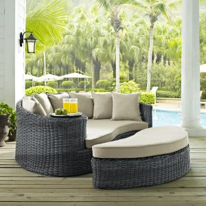 Outdoor Patio Wicker Rattan SUNBRELLA® Daybed in Canvas Antique Beige Cushions EEI-1993