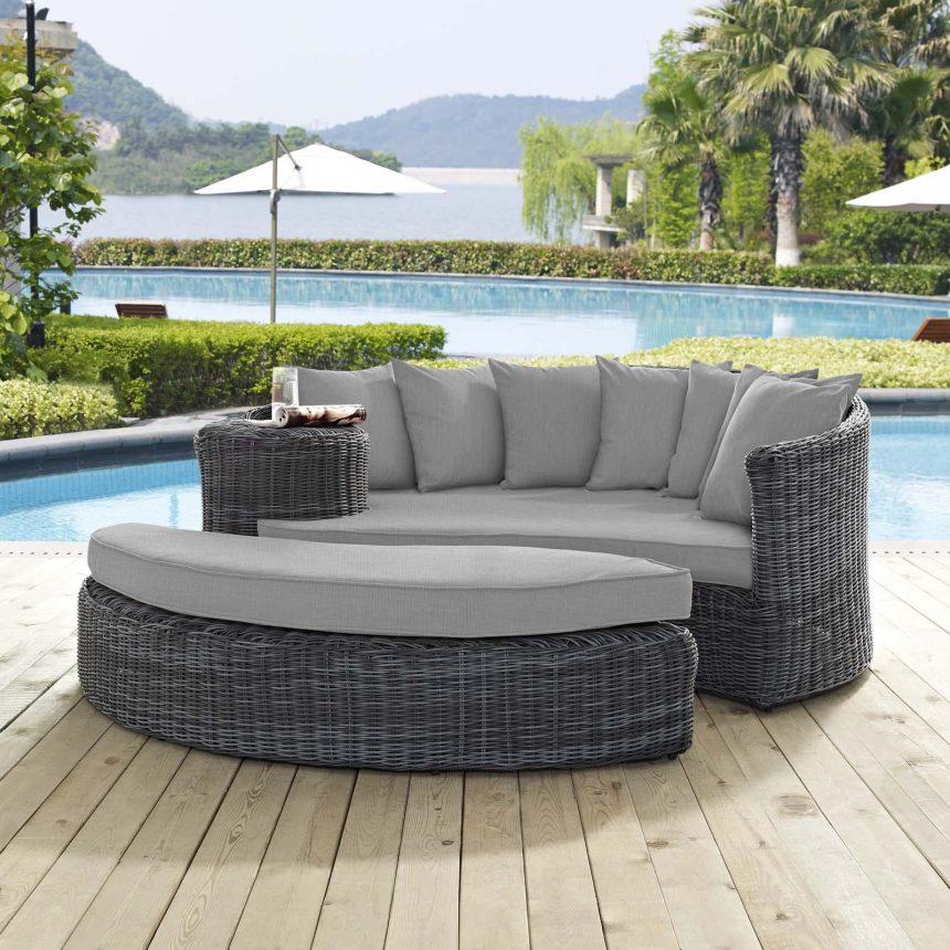 Outdoor Patio Sunbrella® Daybed in Canvas Gray Cushions EEI-1993