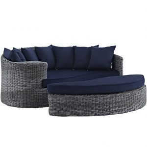Outdoor Patio Wicker Rattan SUNBRELLA® Daybed in Canvas Navy