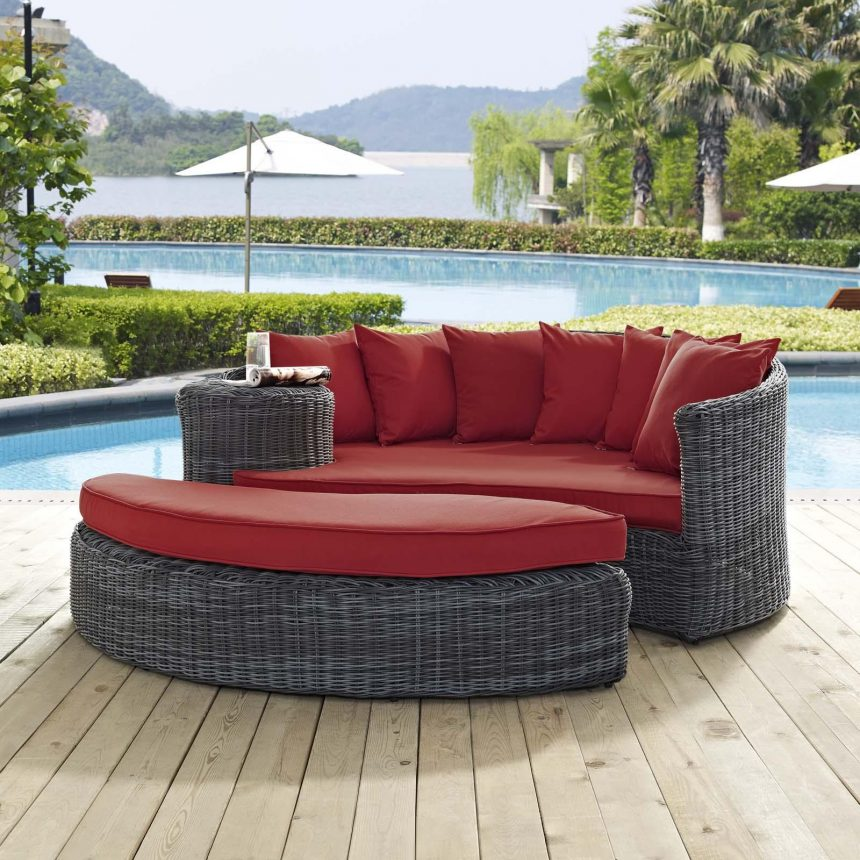 Outdoor Patio Sunbrella® Daybed in Canvas Red Cushions EEI-1993