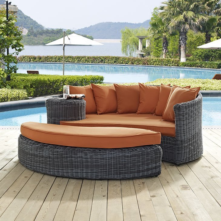 Outdoor Patio Wicker Rattan SUNBRELLA® Daybed in Canvas Tuscan EEI-1993