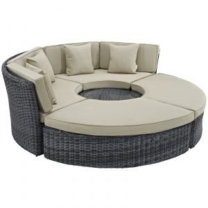 Outdoor Patio Wicker Rattan SUNBRELLA® Daybed in Canvas Antique Beige