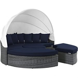 Canopy Outdoor Patio Wicker Rattan SUNBRELLA® Daybed in Canvas Navy
