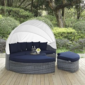 Canopy Outdoor Patio Sunbrella® Daybed in Canvas Navy EEI-1997