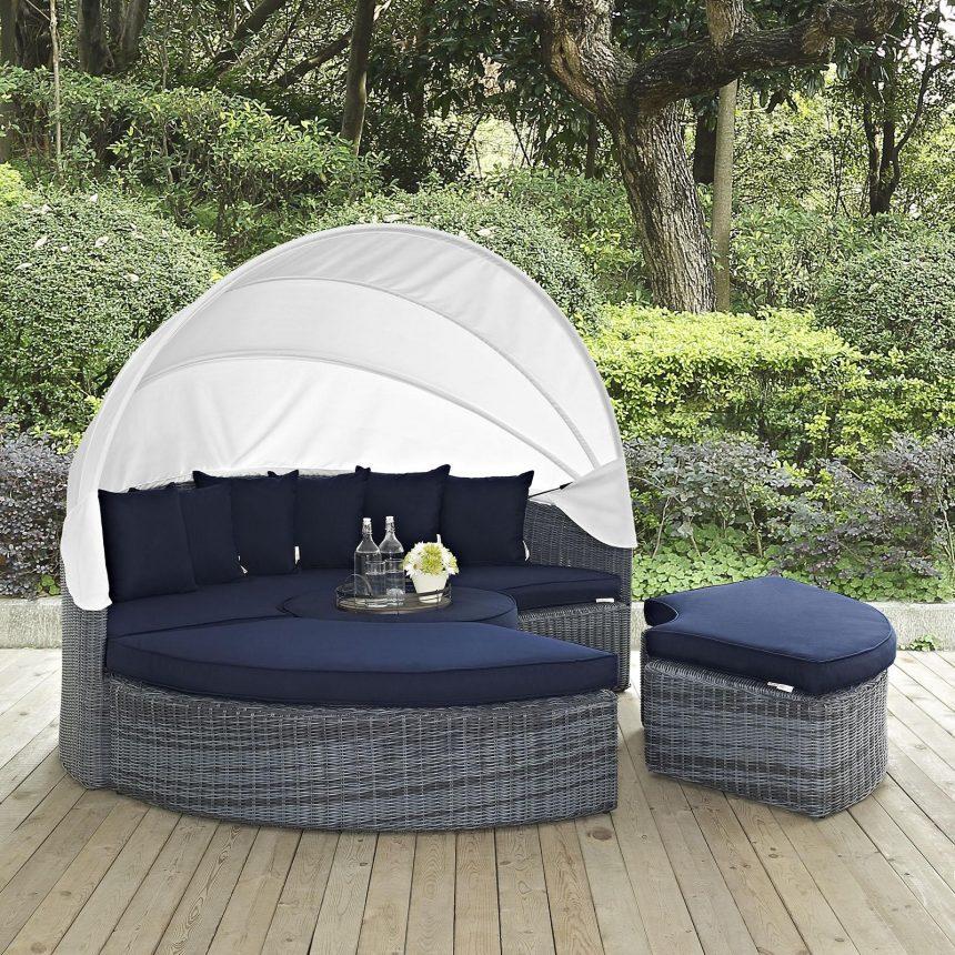 Canopy Outdoor Patio Sunbrella® Daybed in Canvas Navy EEI-1997