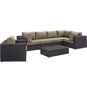 7 piece outdoor patio sectional set in mocha