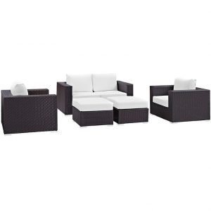 5 piece outdoor patio sofa set in white