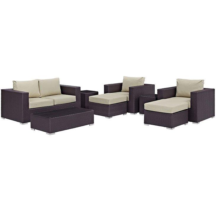 Bon 8 Piece Rattan Sofa Set With Beige Cushions