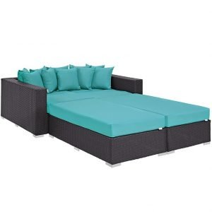 4 piece outdoor patio daybed turquoise cushions EEI-2160