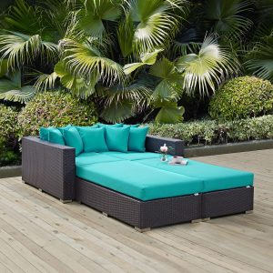 Rattan Daybed EEI-2160 in Turquoise