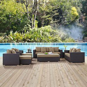 9 piece Outdoor Rattan Sofa Set with Mocha Cushions