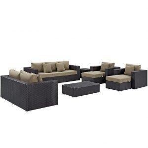 9 piece patio sofa sectional set mocha