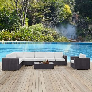 Outdoor Rattan Sofa Sectional in White