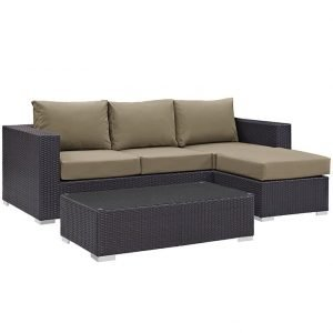 Patio Rattan Sofa with Mocha Cushions