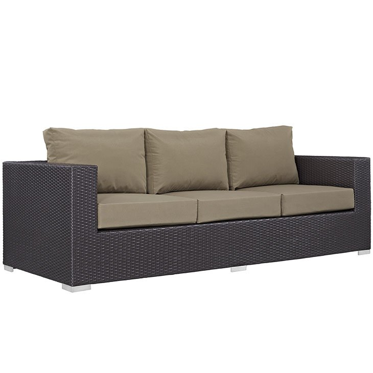 Mocha All Weather Cushions on Rattan Sofa