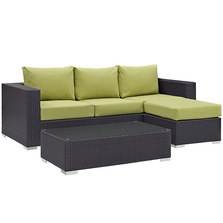 Green on Rattan Set