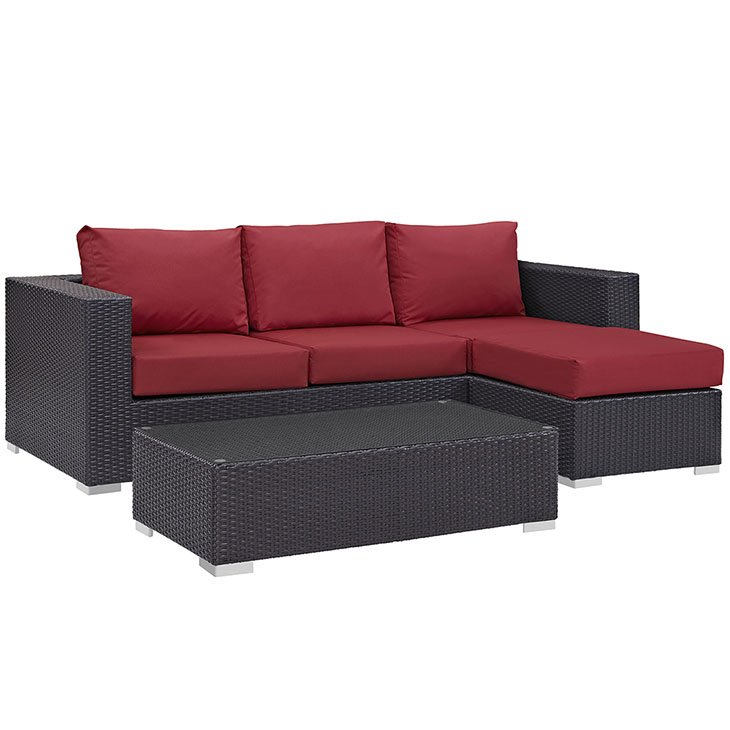 Outdoor Rattan Sofa Set with Red Cushions