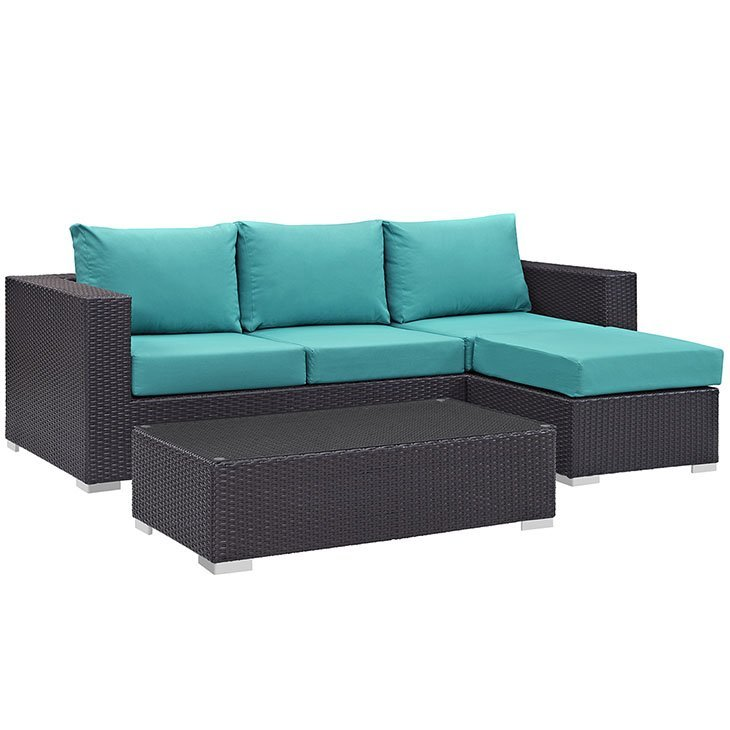 Turquoise on Rattan Patio Sectional