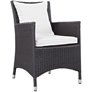 Outdoor Rattan Patio Dining Chair with White Cushions