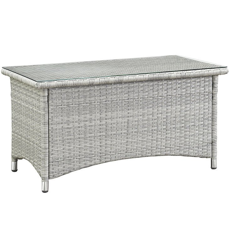 Gray Wicker Rattan Coffee Table with Glass Top