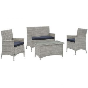 Outdoor Wicker Rattan Sofa Set with Navy Cushions