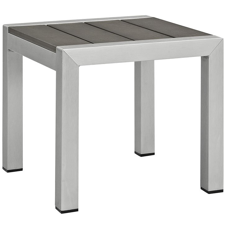 Brushed Aluminum Side Table Silver and Gray