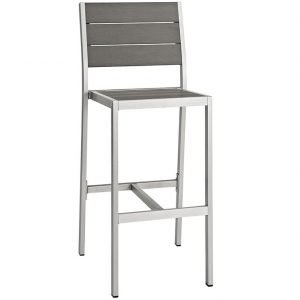 Outdoor Bar Stools in Silver and Gray