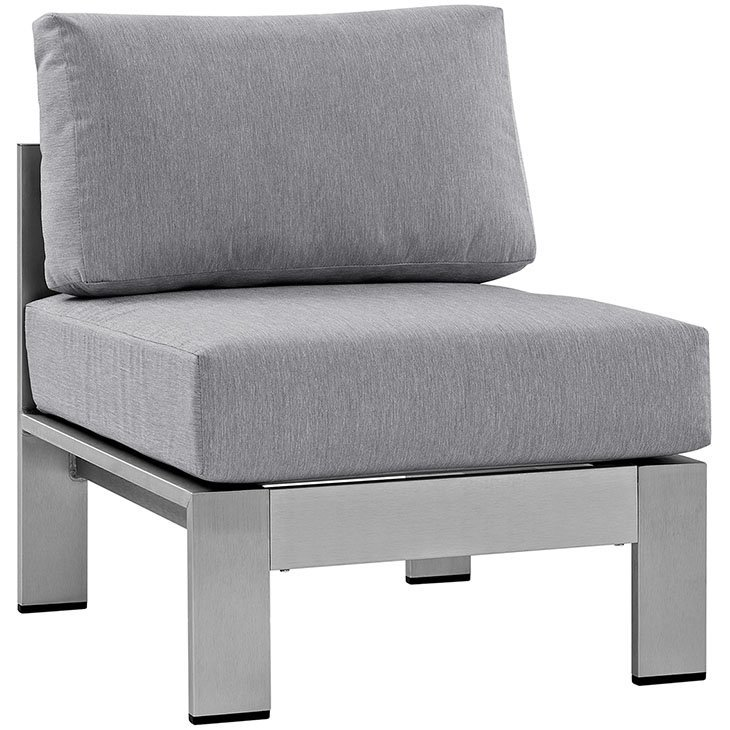 Gray Patio Chair with Brushed Aluminum