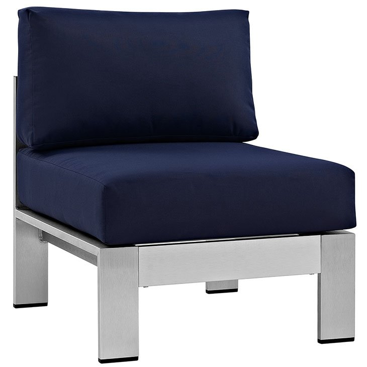 Navy Cushions on Brushed Aluminum Patio Chair