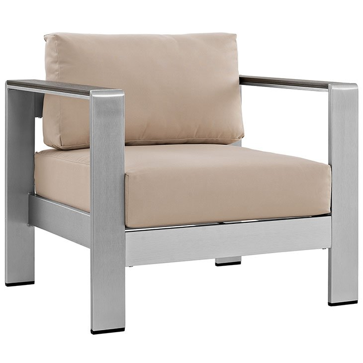 Aluminum Patio Chair with beige cushions