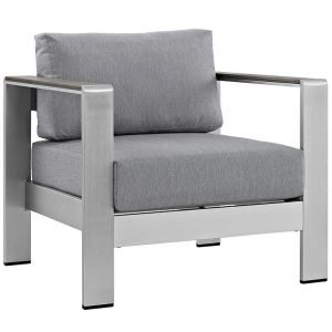 Patio Armchair with Gray Canvas Cushions