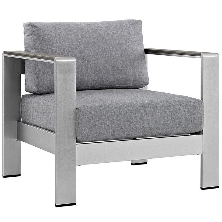 Patio Armchair with Gray Canvas Cushions