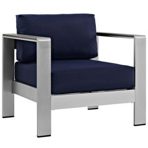 Aluminum Outdoor Chair with Navy Blue Cushions