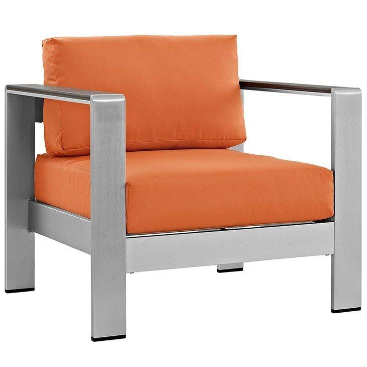 Orange Cushions Aluminum Armchair