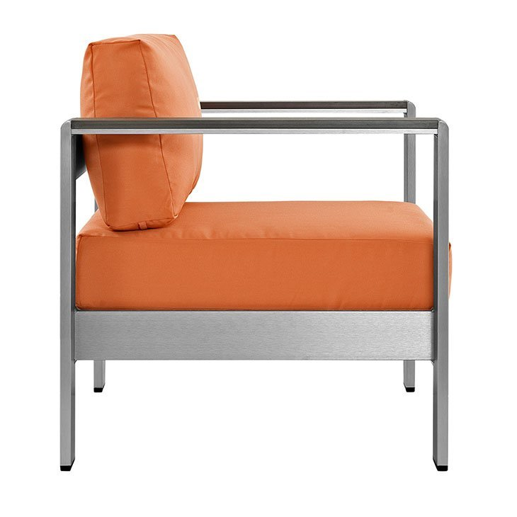 Aluminum Patio Chair with Orange Cushion